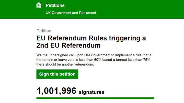 Capture d'écran du site du Parlement britannique qui met en ligne la pétition en faveur d'un nouveau référendum sur le Brexit. (FRANCETV INFO)