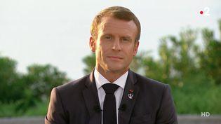 Emmanuel Macron, le 26 août 2019 à Biarritz (Pyrénées-Atlantiques). (FRANCE 2)