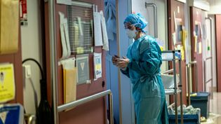 Une soignante d'une unité dédiée au Covid-19, à la clinique Ambroise Paré, à Neuilly-sur-Seine (Hauts-de-Seine), le 28 avril 2020. (JULIE LIMONT / HANS LUCAS / AFP)