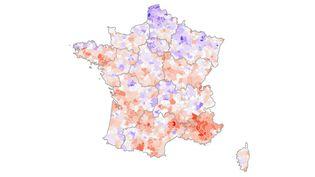Carte de France de la vaccination par intercommunalité (FRANCEINFO)