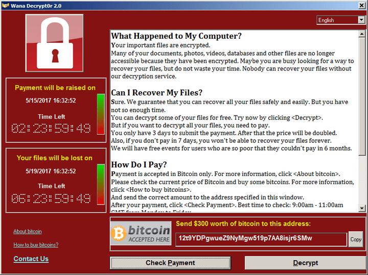 """La demande de rançon affichée par une variante du logiciel malveillant """"Wannacry"""", qui s'est activé vendredi 12 mai 2017 sur plus de 200 000 ordinateurs. (WANADECRYPTOR 2.0)"""
