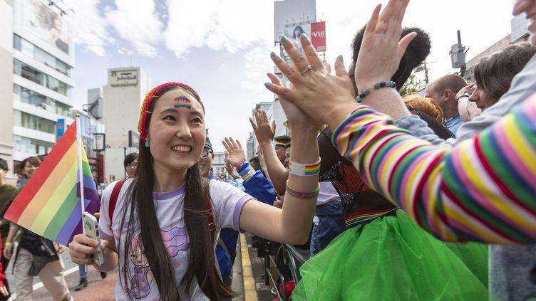 Une femme lors de la Gay Pride à Tokyo, le 28 avril 2019. (EYEPRESS NEWS / AFP)