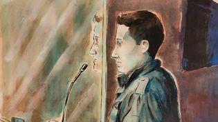 Jonathann Daval lors de son procès devant la cour d'assises de la Haute-Saône, à Vesoul, le 19 novembre 2020. (VALENTIN PASQUIER / FRANCE TELEVISIONS)