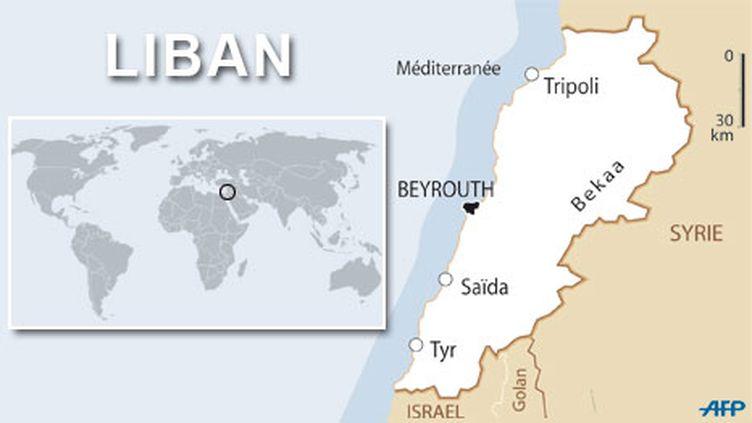 Le Liban, avec la cité de Zahlé au centre Est. (AFP/FTV)