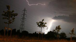 La fourdre tombe sur une ligne électrique à Toulouse (Haute-Garonne), le 27 juillet 2006. (LIONEL BONAVENTURE / AFP)