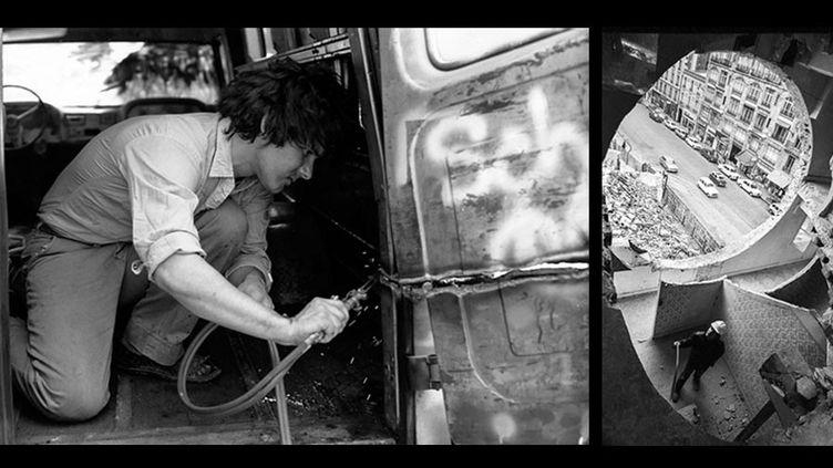 "A gauche, Gordon Matta-Clark découpe au chalumeau son ""Graffiti Truck"" (1973) photographe inconnu,Courtesy The Estate of Gordon Matta-Clark et David Zwirner, New York / Londres / Hong Kong - A droite, Gordon Matta-Clark travaillant à ""Conical Intersect"", octobre 1975  (A gauche © 2018 The Estate of Gordon Matta-Clark / ADAGP, Paris - A droite © Marc Petitjean)"
