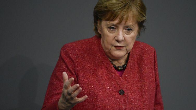 La chancelière allemande, Angela Merkel, lors d'un discours au parlement, le 9 décembre 2020 à Berlin. (TOBIAS SCHWARZ / AFP)