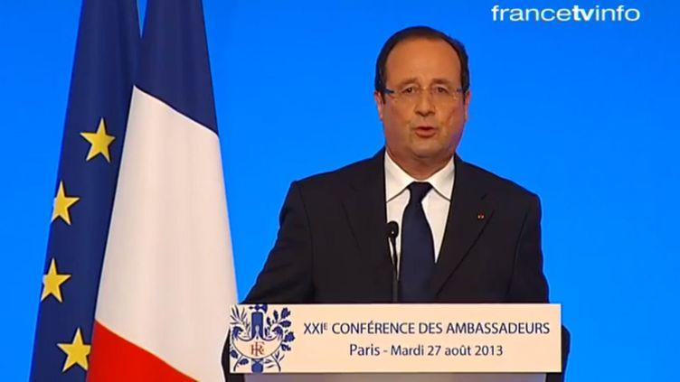 François Hollande lors de la Conférence des ambassadeurs, le 27 août 2013 à l'Elysée (Paris). ( FRANCETV INFO)