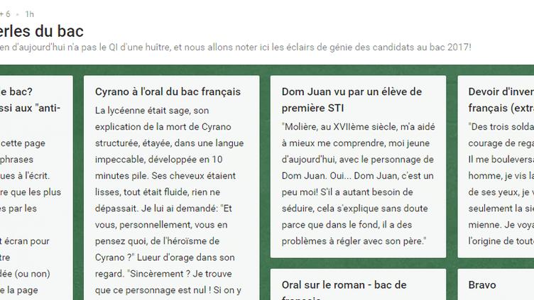 """La professeure de lettre Françoise Cahen a lancé une plateforme sur Internet pour recenser les """"pépites"""" du bac, mercredi 5 juillet 2017. (CAPTURE ECRAN / PADLET.COM)"""