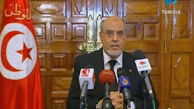 Le Premier ministre tunisien, Hamadi Jebali, lors d'une allocution télévisée, le 6 février 2013. (TUNISIAN TV / AFP)