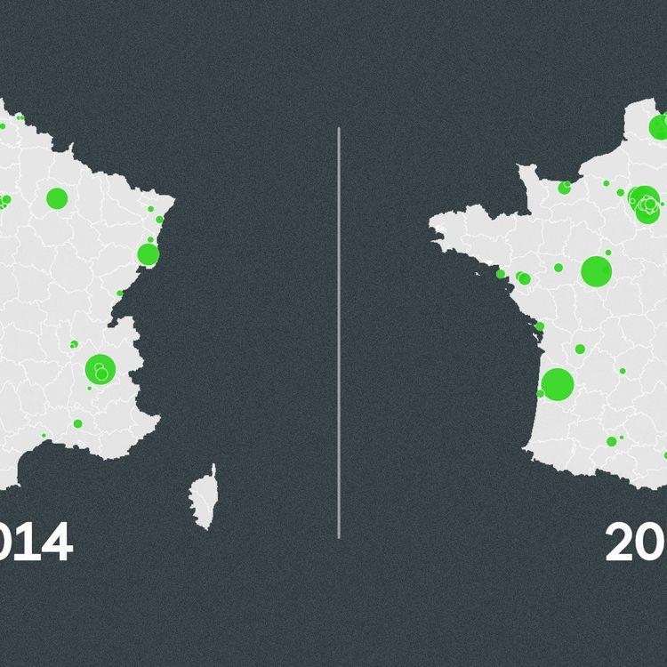 L'évolution du nombre de conseillers municipaux EELV entre 2014 et 2020. (FRANCEINFO)