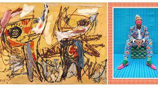 """A gauche """"Les Danseurs du désert"""", 1954, Musée d'art moderne de la Ville de Paris. Photo : Fondation Karel Appel - A droiteHassan Hajjaj, Joe Casely-Hayford, photography by Hassan Hajjaj, 2012  (A gauche © Karel Appel Foundation / ADAGP, Paris 2017 - A droite © Hassan Hajjaj)"""