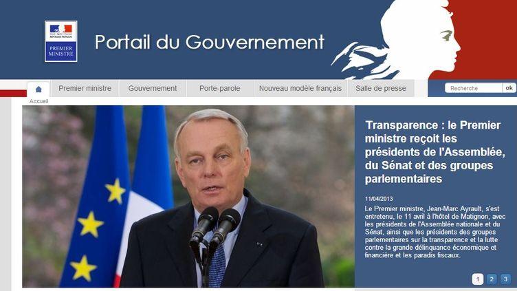 Capture d'écran du site gouvernement.fr, où seront publiées les déclarations de patrimoine des ministres, le 15 avril 2013. (GOUVERNEMENT.FR)
