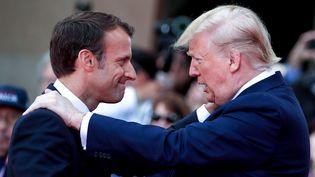 Emmanuel Macron et Donald Trumpà Colleville-sur-Mer (Calvados),le 6 juin 2019. (IAN LANGSDON / AFP)