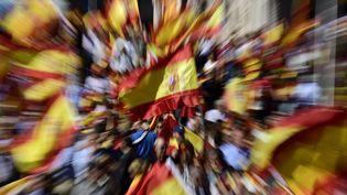 Manifestation contre l'indépendance de la Catalogne à Madrid (Espagne), le 7 octobre 2017. (JAVIER SORIANO / AFP)