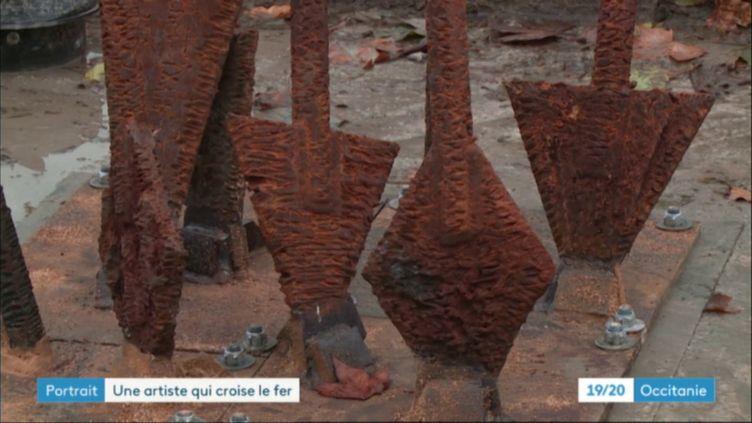 les flèches d'Emilie Prouchet Dalla-Costa plantées à Montauban (CAPTURE D'ÉCRAN FRANCE 3)