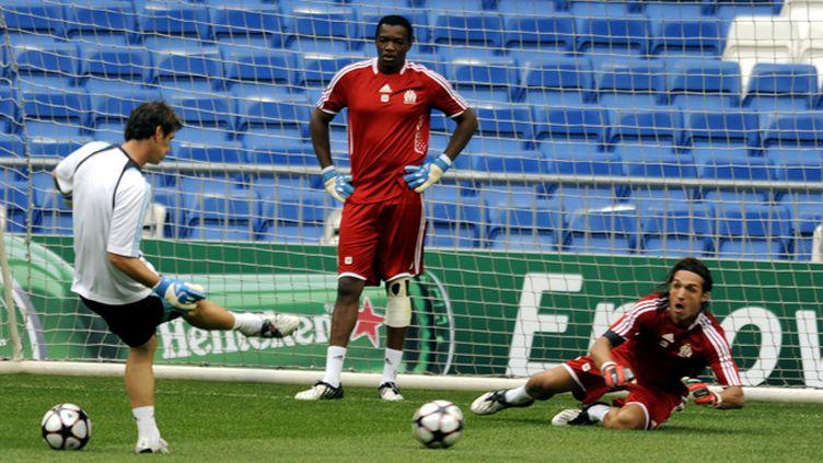 Andrade à l'entraînement aux côtés de Mandanda (SPEICH FREDERIC / MAXPPP TEAMSHOOT)