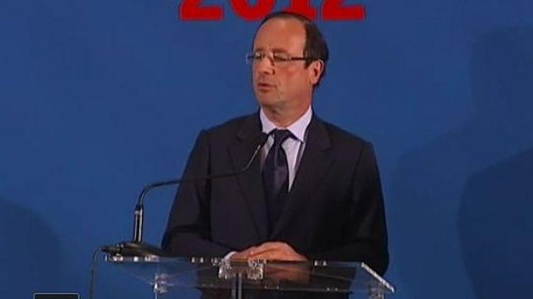 Le candidat PS à la présidentielle François Hollande à Mérignac (Gironde), le mercredi 4 janvier 2012. (FRANCE TÉLÉVISIONS)