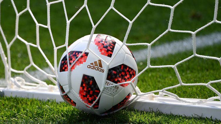 Un ballon dans le but, lors du match Suède-Suisse de la Coupe du monde, à Saint-Pétersbourg (Russie), le 3 juillet 2018. (FRANK HOERMANN / SVEN SIMON / AFP)