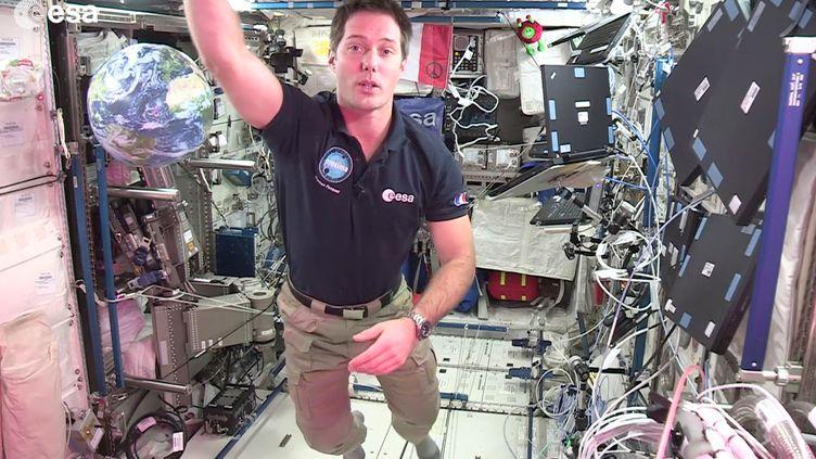Thomas Pesquet, envoyé spatial de franceinfo, à bord de l'ISS. (ESA - RADIO FRANCE)