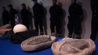 Des objets archéologiques marocains saisis en France en 2005-2006 et restitués au Maroc. Au Mucem à Marseille, le 15 octobre 2020. (CHRISTOPHE SIMON / AFP)