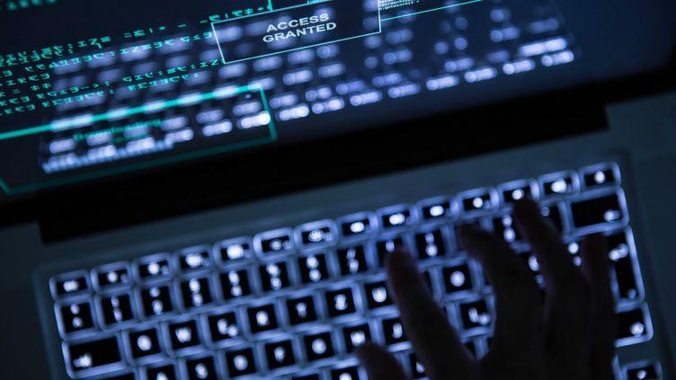 Un hacker devant un ordinateur. Photo d'illustration. (SILAS STEIN / DPA / MAXPPP)