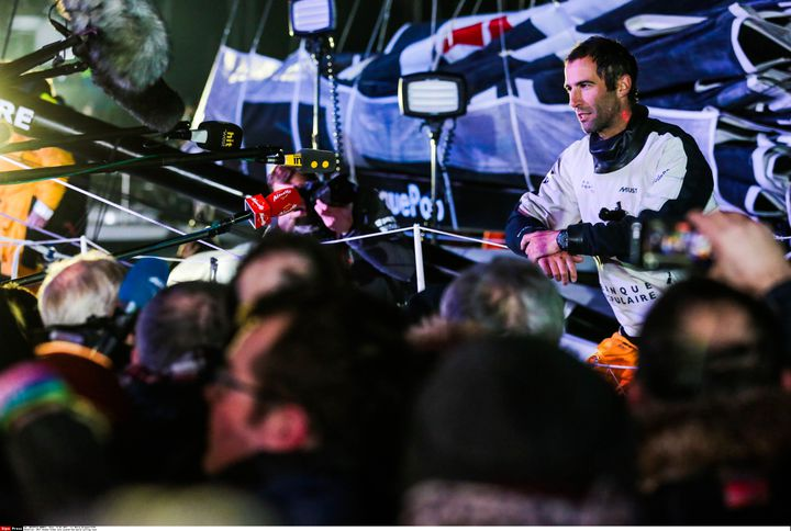 Le skipper Armel Le Cléac'h, vainqueur du Vendée Globe, le 19 janvier 2017, aux Sables-d'Olonne. (DRIGUEZ MARIN / SIPA)
