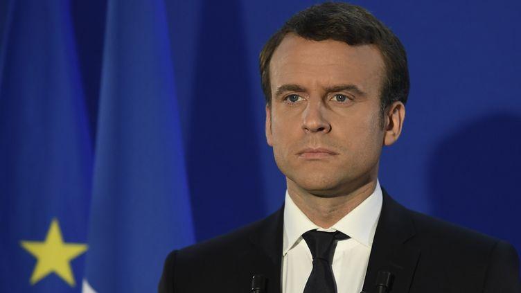 Emmanuel Macron, le 7 mai 2017 au siège de son mouvement En marche ! à Paris, au soir de sa victoire au second tour de l'élection présidentielle. (LIONEL BONAVENTURE / AFP)