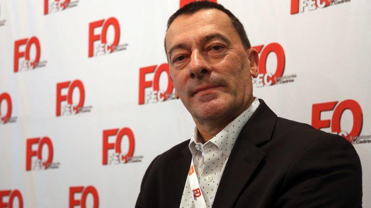 Serge Legagnoa,secrétaire confédéral de Force ouvrière au sein du département de la protection sociale collective, le 26 octobre 2017 à Lille (Nord). (BAZIZ CHIBANE / MAXPPP)
