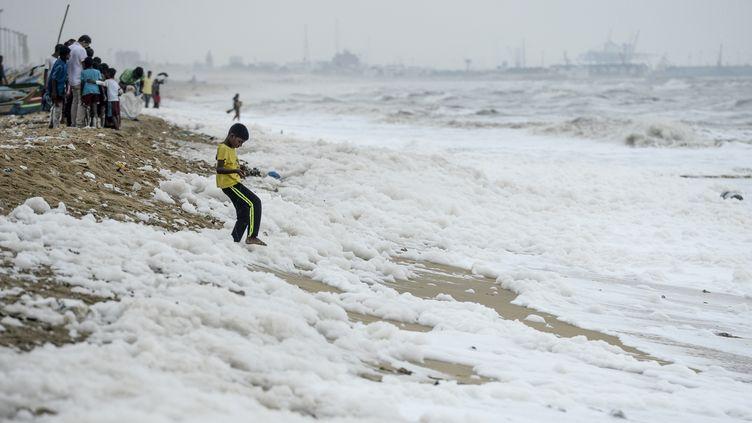 Des monceaux de mousse blanche polluent une plage de Chennai (Inde), le 2 décembre 2019. (ARUN SANKAR / AFP)