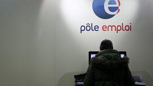 Une personne se renseigne au stand Pôle emploi du Salon des services à la personne, le 6 décembre 2014, à Paris. (MAXPPP)