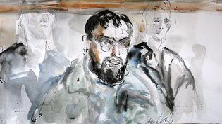 Un croquis deDjamel Beghalréalisé lors de son procès pour association de malfaiteurs à visée terroriste, le 4 janvier 2005 au tribunal correctionnel de Paris. (LAURENCE DE VELLOU / AFP)