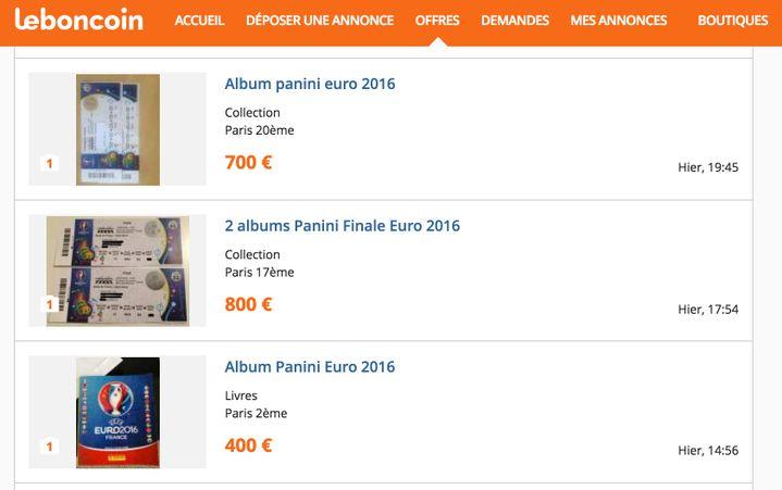 Capture d'écran du site Le Bon Coin avec quelques annonces promettant des albums Panini mais vendant en réalité des places pour la finale de l'Euro. (LE BON COIN)