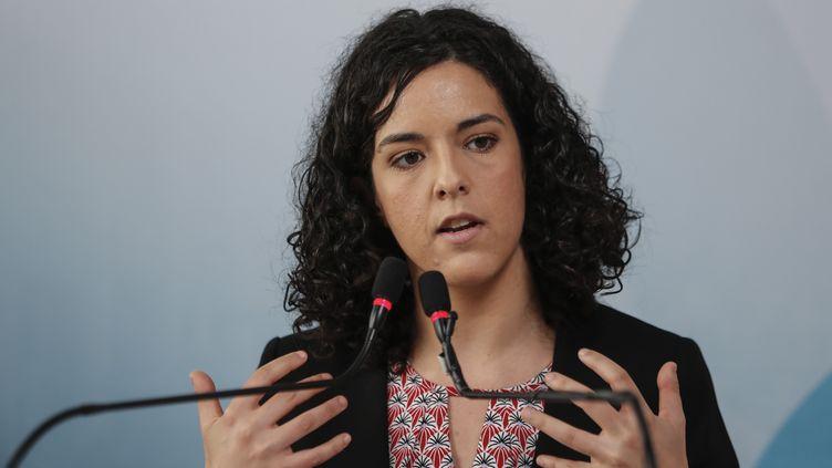 Manon Aubry, députée européenne LFI, lors d'une conférence de presse, le 19 mai 2019. (ZAKARIA ABDELKAFI / AFP)