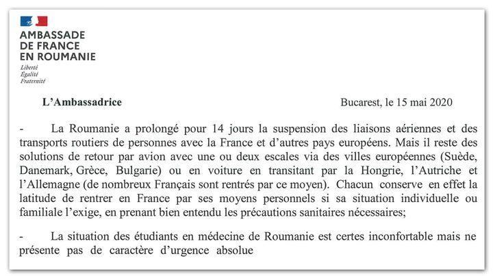 Lettre de l'ambassade de France en Roumanie adressée aux étudiants français, le 15 mai 2020. (CELLULE INVESTIGATION DE RADIO FRANCE)