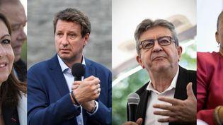 """Anne Hidago, Yannick Jadot, Jean-Luc Mélenchon et Christiane Taubira sont parmi les dix personnalités arrivées en tête des parrainages de la """"Primaire populaire"""", selon les résultats annoncés le 11 octobre 2021. (AFP)"""