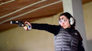 Mathilde Lamolle à l'entraînement, à Allauch, près de Marseille, le 15 février 2021. (NICOLAS TUCAT / AFP)