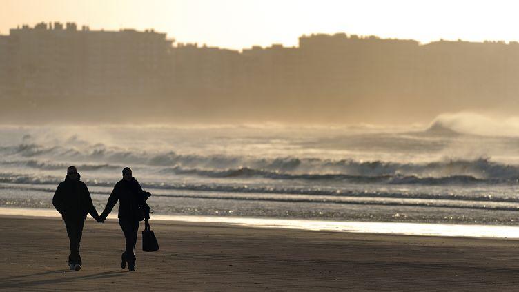 Un couple se tient par la main sur une plage desSables d'Olonne (Vendée), le 6 février 2013. (JEAN-SEBASTIEN EVRARD / AFP)