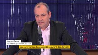 Laurent Berger, secrétaire général de la CFDT, vendredi 27 novembre sur franceinfo. (FRANCEINFO / RADIO FRANCE)