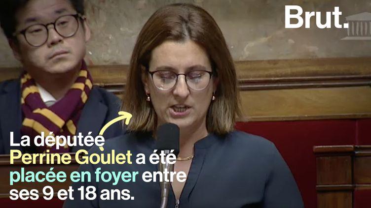 Perrine Goulet dépeint la dure réalité des foyers d'accueil pour enfants. Aujourd'hui députée, elle hausse la voix à l'Assemblée pour rendre l'aide sociale plus égalitaire. (BRUT)