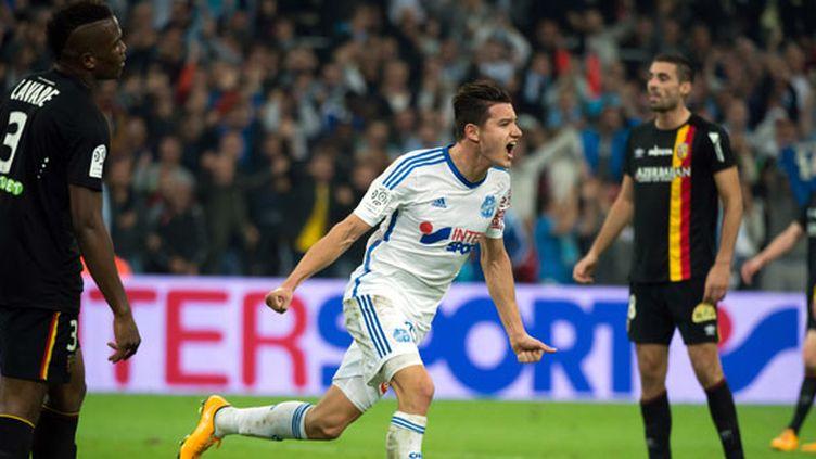 La joie de Florian Thauvin après son but face à Lens (BERTRAND LANGLOIS / AFP)