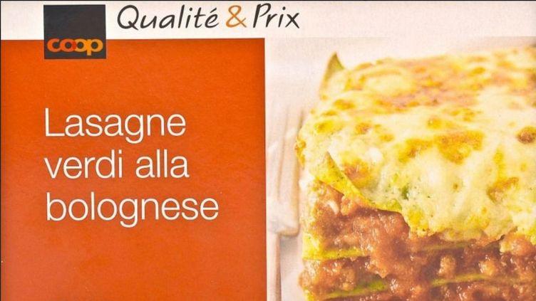 """Coop avait retiré de la vente """"par précaution"""" ces lasagnes fabriquées par la société française Comigel mardi 12 février 2013. (CAPTURE D'ECRAN FRANCETV INFO / COOP)"""