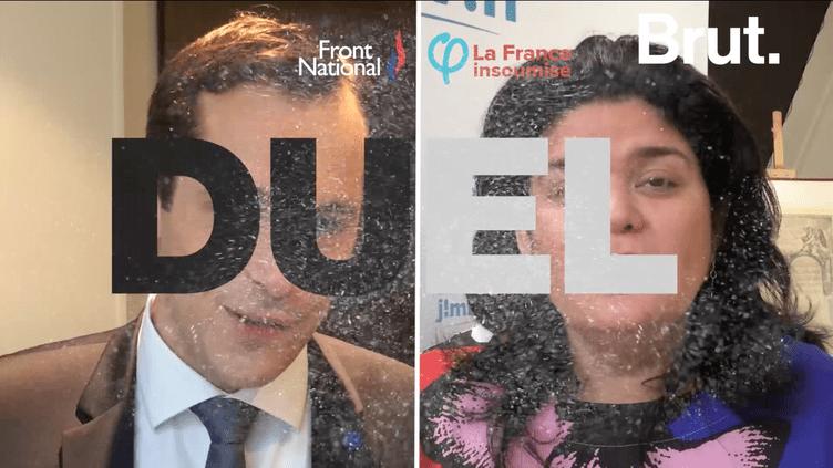 """""""Duel"""" entre Nicolas Bay, secrétaire général du FN et Raquel Garrido, porte-parole de Jean-Luc Mélenchon.  (Brut)"""