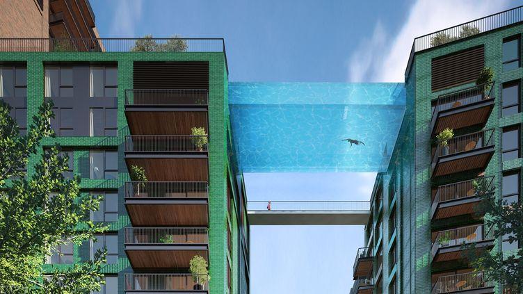 Une vue d'artiste du projet de piscine flottante en plein centre de Londres. (BALLYMORE GROUP)