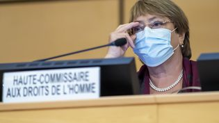 La Haute-Commissaire de l'ONU aux droits de l'homme, Michelle Bachelet, assiste à l'ouverture de la 45e session du Conseil des droits de l'homme, au siège européen des Nations unies à Genève (Suisse), le 14 septembre 2020. (MARTIAL TREZZINI / AFP)