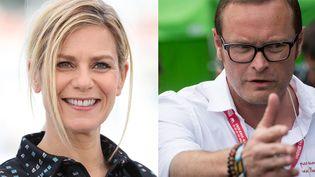 Marina Foïs, à Cannes, et Jérome Tréhorel, à Carhaix. (VALERY HACHE / ARNAUD ROINE / AFP / MAXPPP)