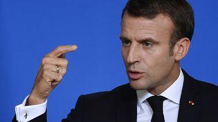 Emmanuel Macron, chef de l'Etat français à Bruxelles (Belgique), le 18 octobre 2019. Photo d'illustration. (JOHN THYS / AFP)