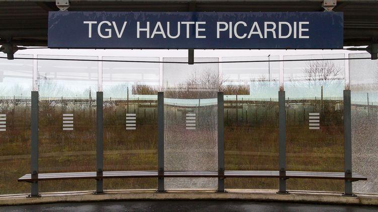 La gare TGV Haute-Picardie, située sur le territoire des communes d'Ablaincourt-Pressoir et Estrées-Deniécourt (Somme), le 14 janvier 2015. (ELODIE DROUARD / FRANCETV INFO)