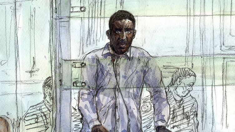 Illustration de Yoni Palmier, jugé pour quatre assassinats au palais de justice de Paris, le mercredi 29 mars 2017. (BENOIT PEYRUCQ / AFP)