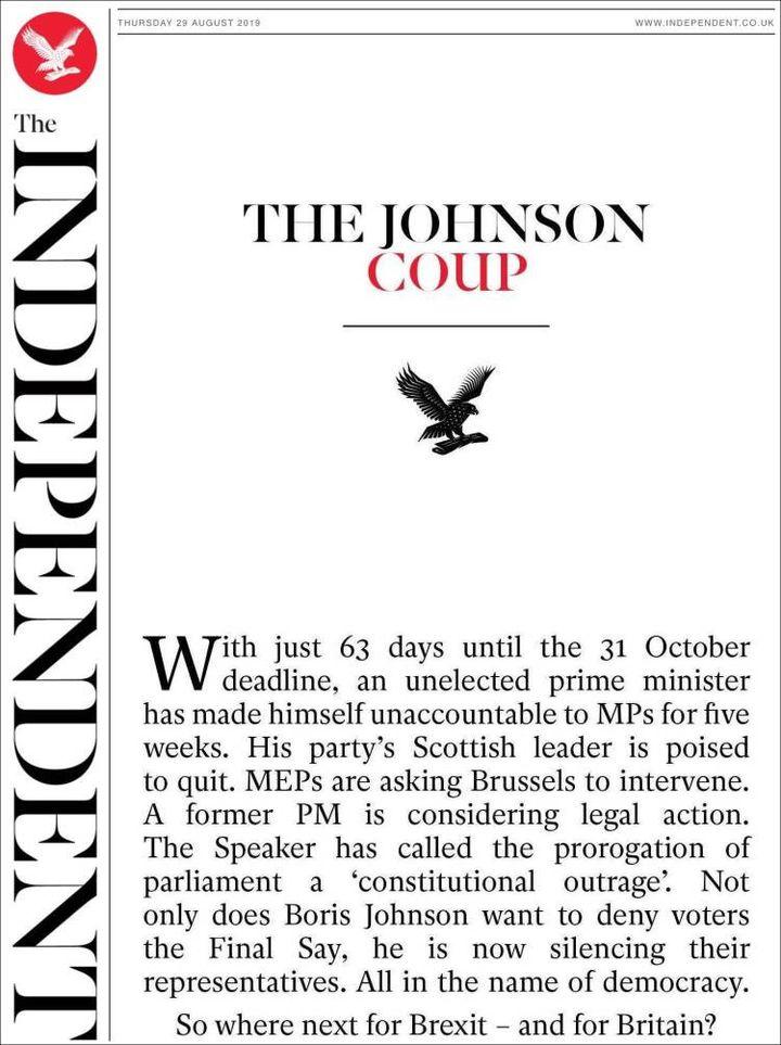 La une de The Independent, le 29 août 2019. (THE INDEPENDENT)